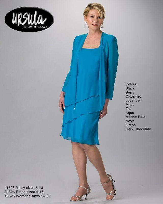 Ursula 11826 Vintage Chiffon Knee Length Evening Jacket Dress (Missy ...