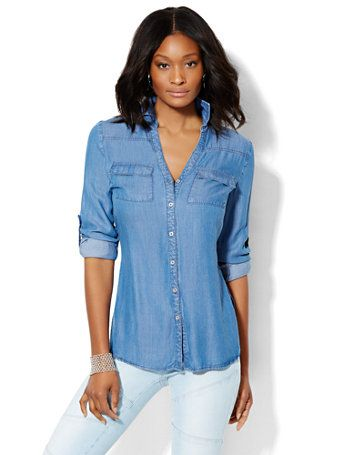 249233f39bd Shop Soho Soft Shirt - Super-Soft Chambray Tunic - Dark Blue . Find your  perfect size online at the best price at New York   Company.