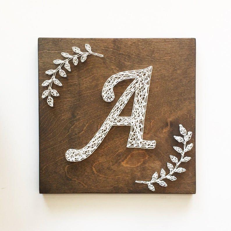 Monogram String Art, Monogram Art, Initial Art, Laurel Branches, Calligraphy