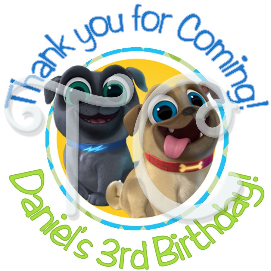 24 Puppy Dog Pals Personalized Birthday Stickers Personalized