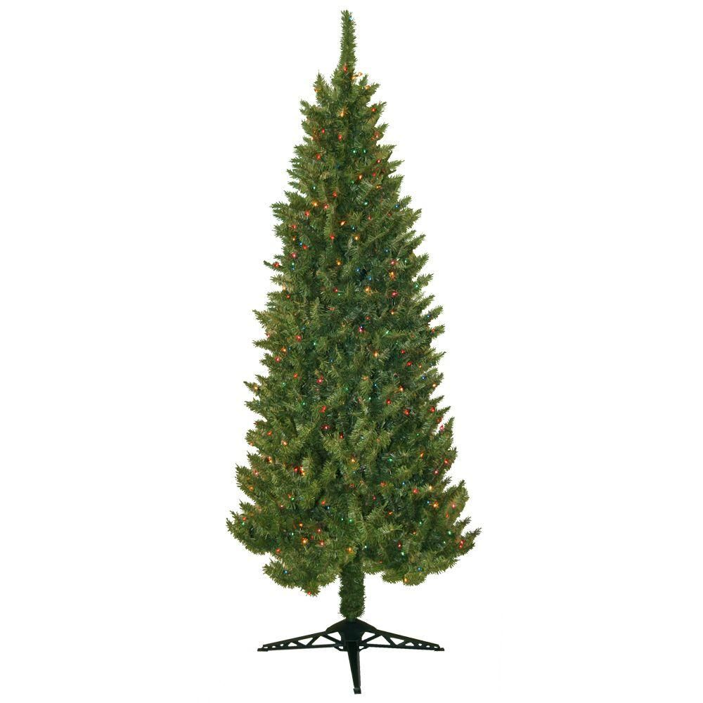 7 ft. Pre Lit Slender Spruce Artificial Christmas Tree with Multi ...