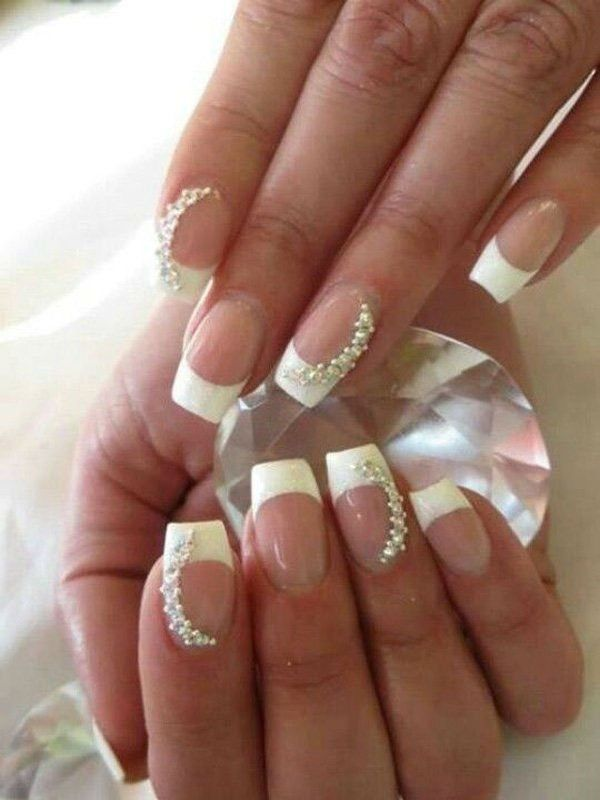 Classic French tip nails with some jewels   Bridal Nail Ideas ...