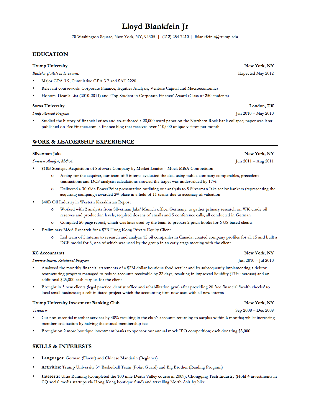 Resume Templates For No Work Experience Investment Banker Resume Sample  Httpwwwresumecareer