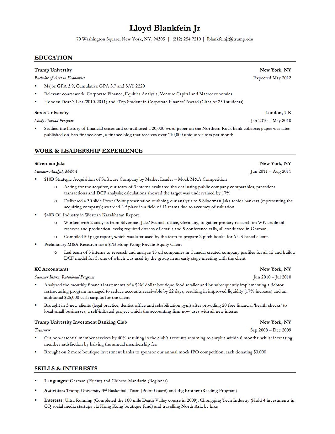 Investment Banker Resume Samplecareer Resume Template Career Resume Template Resume Resume Examples Job Resume Examples