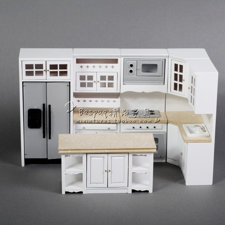 Dollhouses 1//12 scale miniature furniture white Round table And chairs set