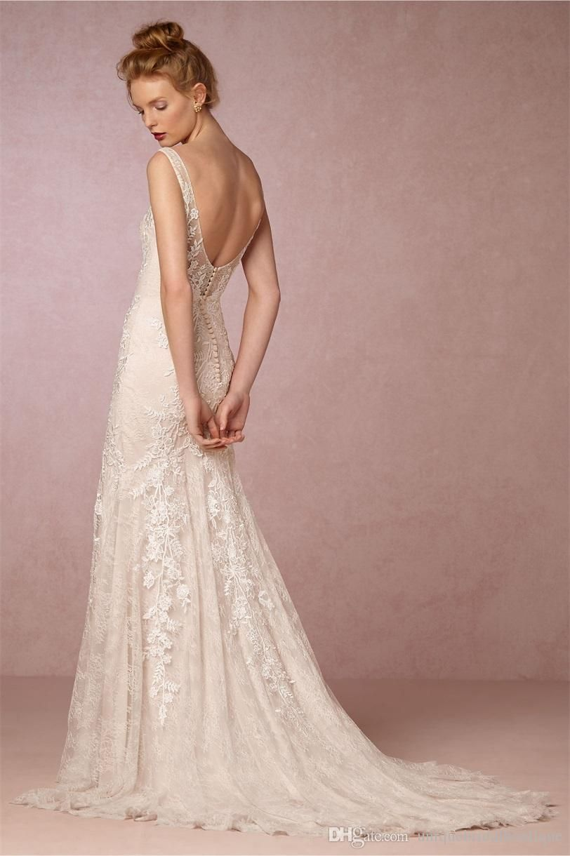 9a63e2abd3f9 2017 BHLDN Wedding Dresses V Neck and Open Back Ivory Appliques Lace Bridal  Gowns with Crystals Sash