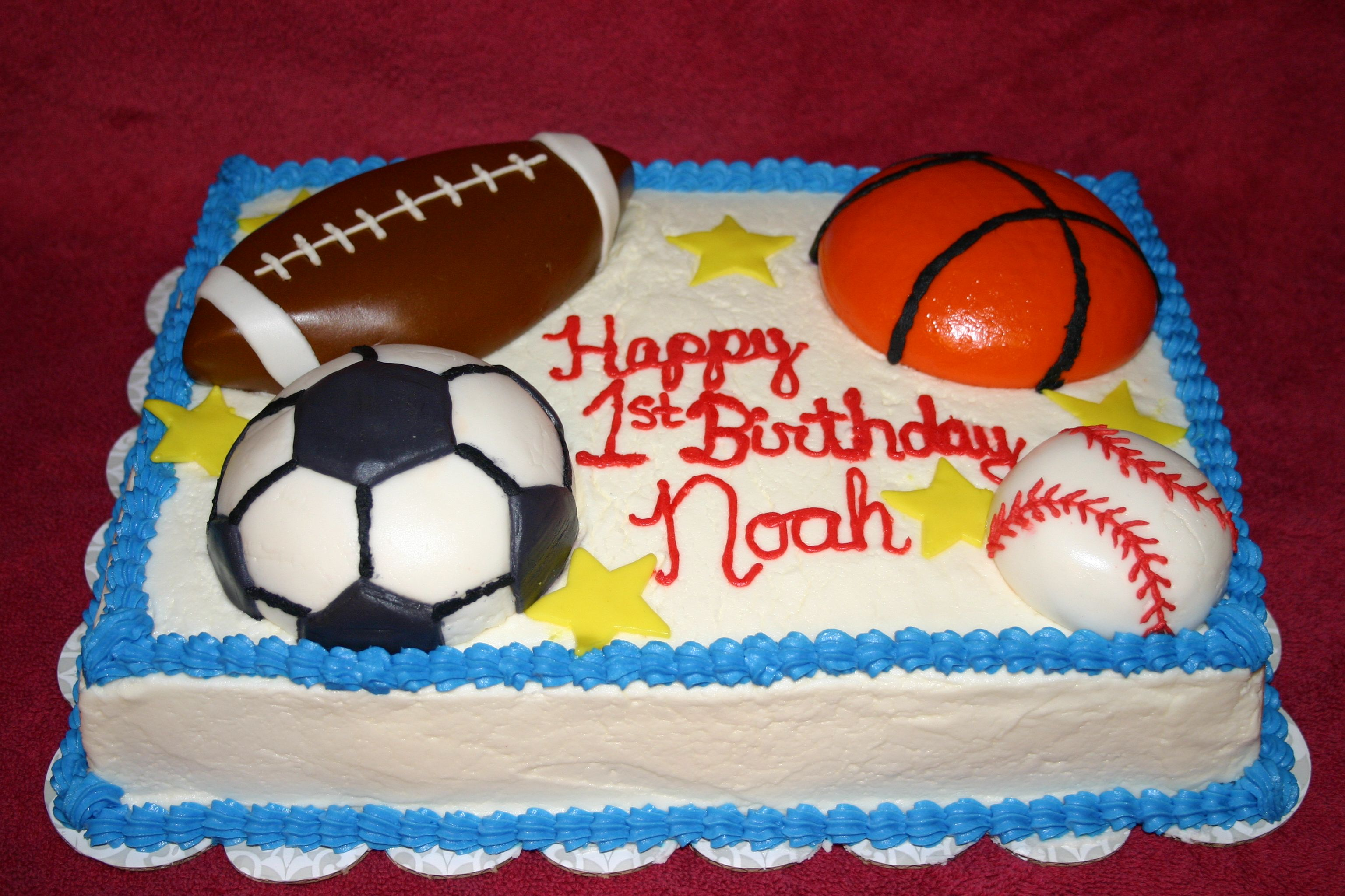 First Birthday cake The stars basketball baseball soccer ball