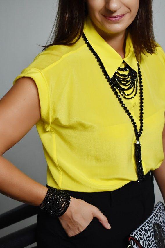 9dcba7f5a8863 Katie Kay wearing our Bettie Silk Shirt - California Sunshine Yellow ...