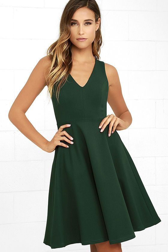 7c1214709f Hello World Dark Green Midi Dress 1 Vestido Verde Informal