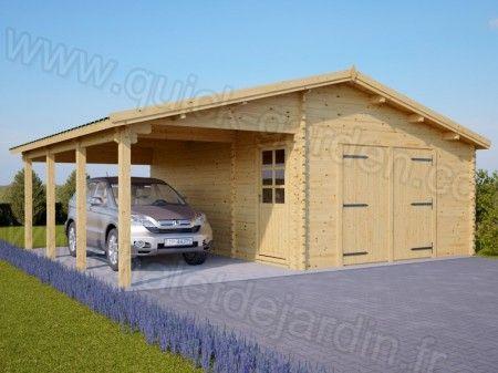 Garage En Bois 400x600 44mm Carport 3x6 42m Garage Bois Construire Un Garage Foyer Jardin