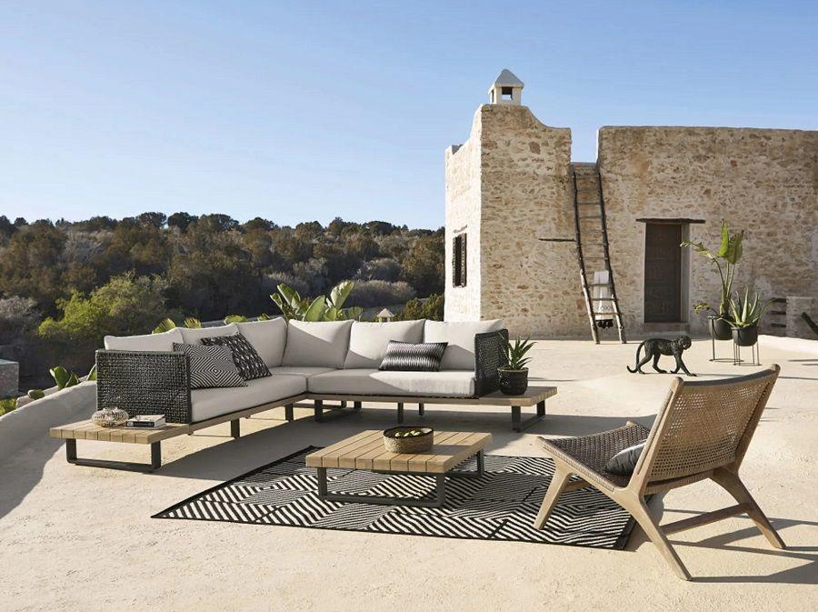 Salon De Jardin Touraco En Toile Beige 5 6 Places Et Acacia Massif