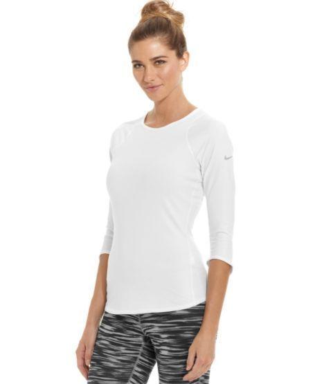 Nike Baseline 3 4 Sleeve Women S Tennis Tee T Shirt Dri Fit White Size S 558819 Sleeves Women Womens Tops Workout Tops