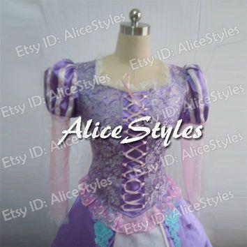 Disney Tangled Rapunzel Cosplay Costume Tangled Rapunzel Dress Custom made in any size