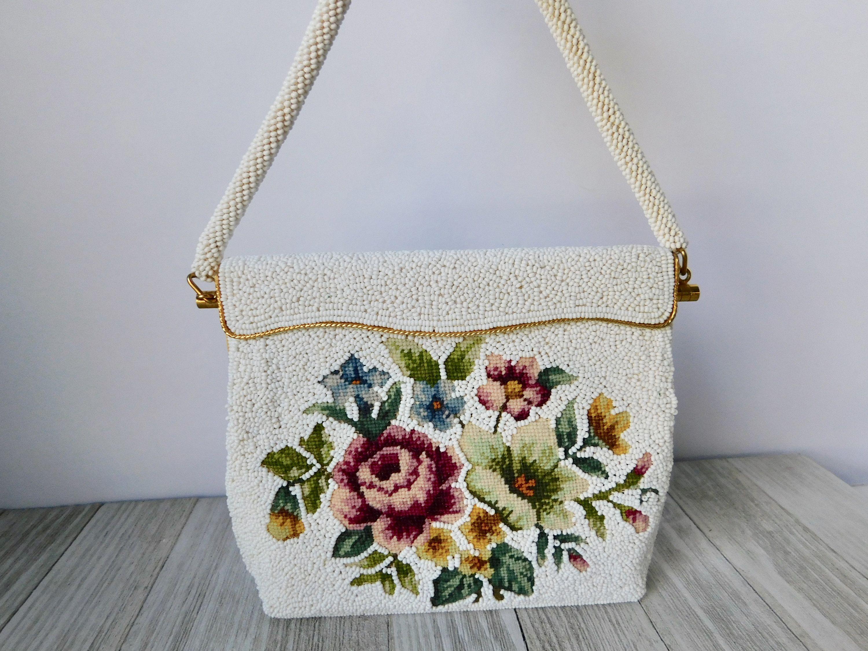 Flower Beaded Handbag