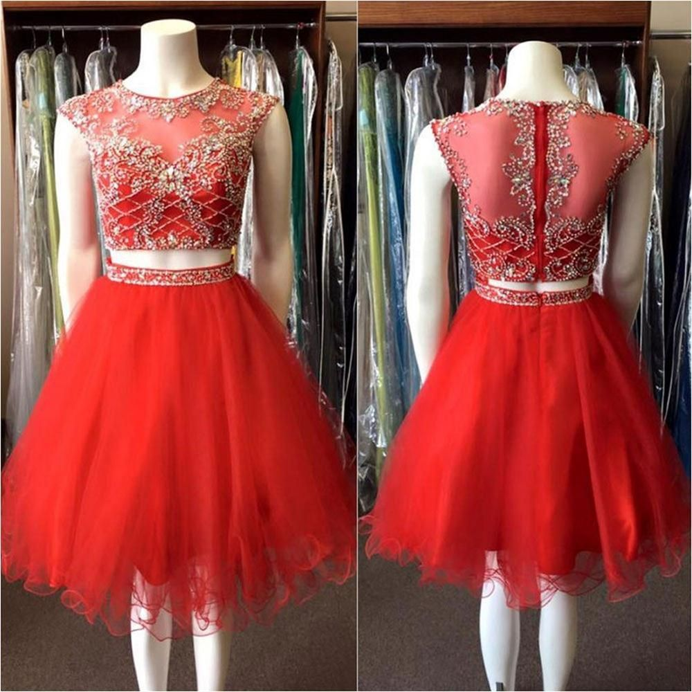 Two pieces red short prom dresses beaded bodice homecoming dresses