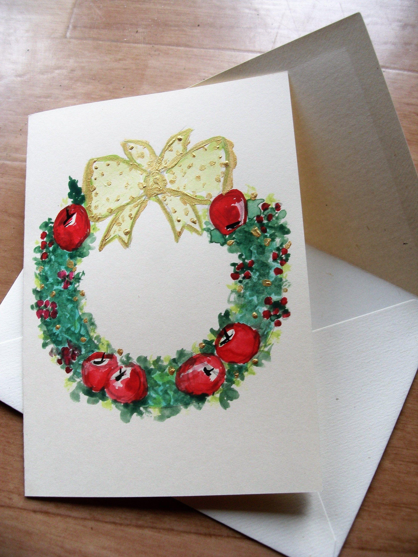 Carte double couronne de Noël,carte de voeux Noël,couronne rouge