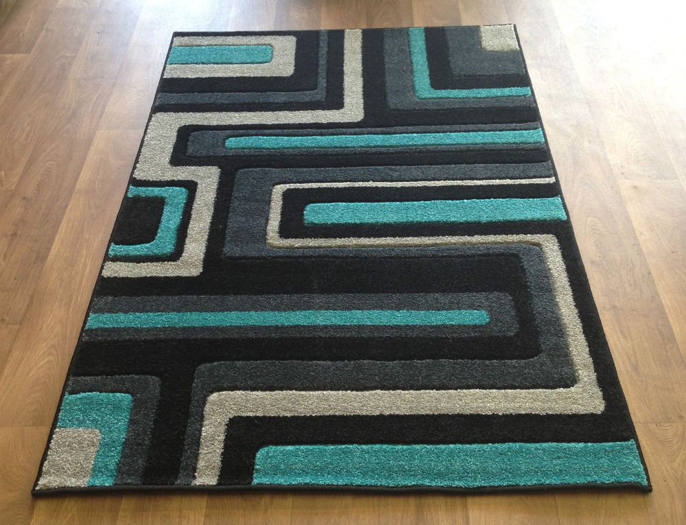 Living Room Ideas RUG MODERN STRIPE BLOCK SQUARES BLACK TEAL BLUE SILVER GREY SMALL MEDIUM LARGE