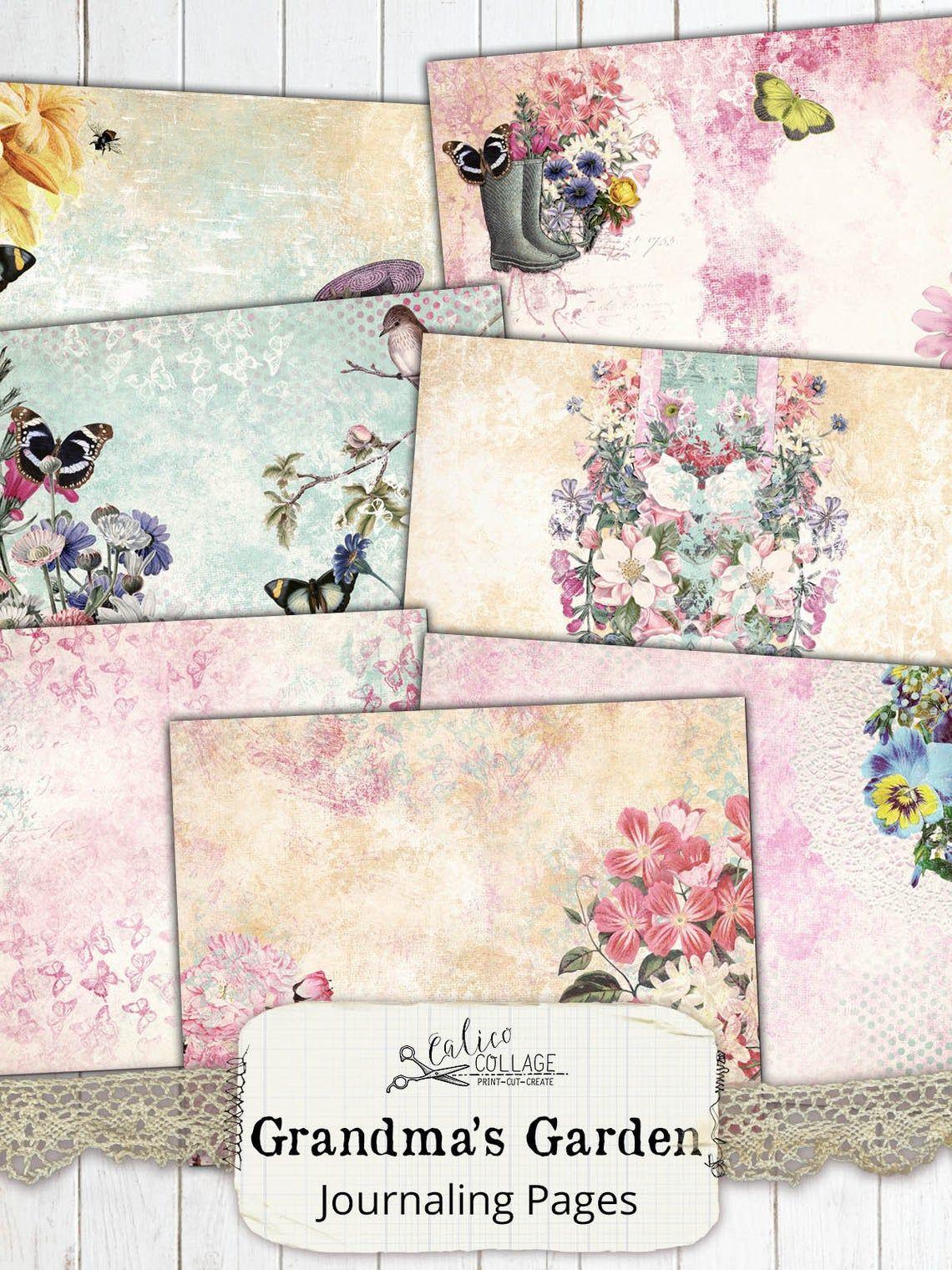 Junk Journal Kit Journal Pages Printable Grandmas Garden Etsy Journal Pages Printable Fairy Garden Crafts Junk Journal