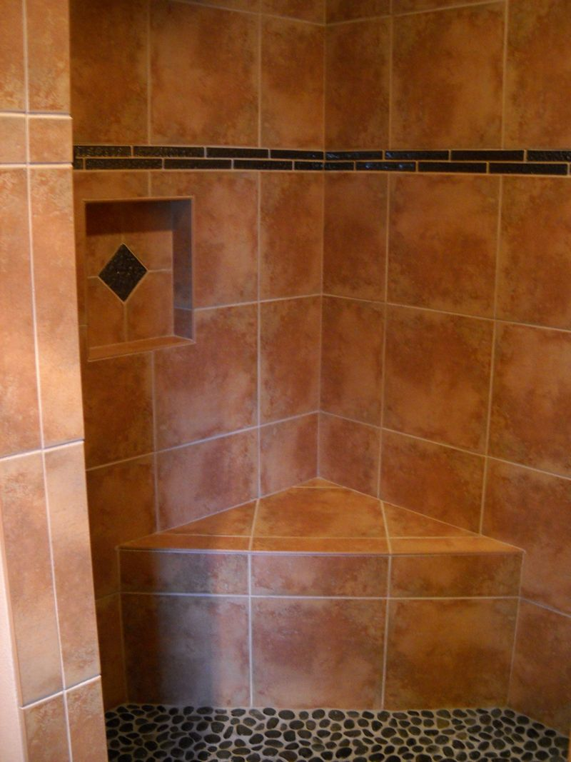 Shower Bench Seat Ideas Part - 40: Walk In Shower Pictures | Walk-in-Shower-Niche-Bench-Seat