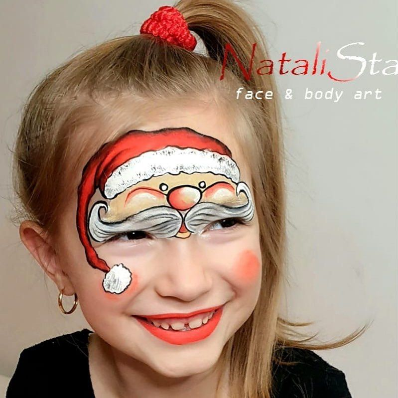 Everything Face And Body Art On Instagram Natalistabodyart Santa Claus Is On His Way To Deliver Al Christmas Face Painting Face Painting Face Painting Easy