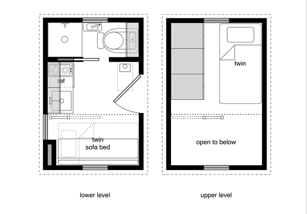 8x12 tiny house with a lower level sleeping option for Sleeping cabin plans