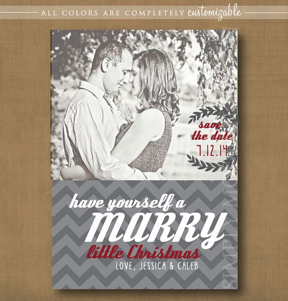 Save The Date Christmas Card Marry Chevron Holiday Invitation New Year Printable Or Printed Cards