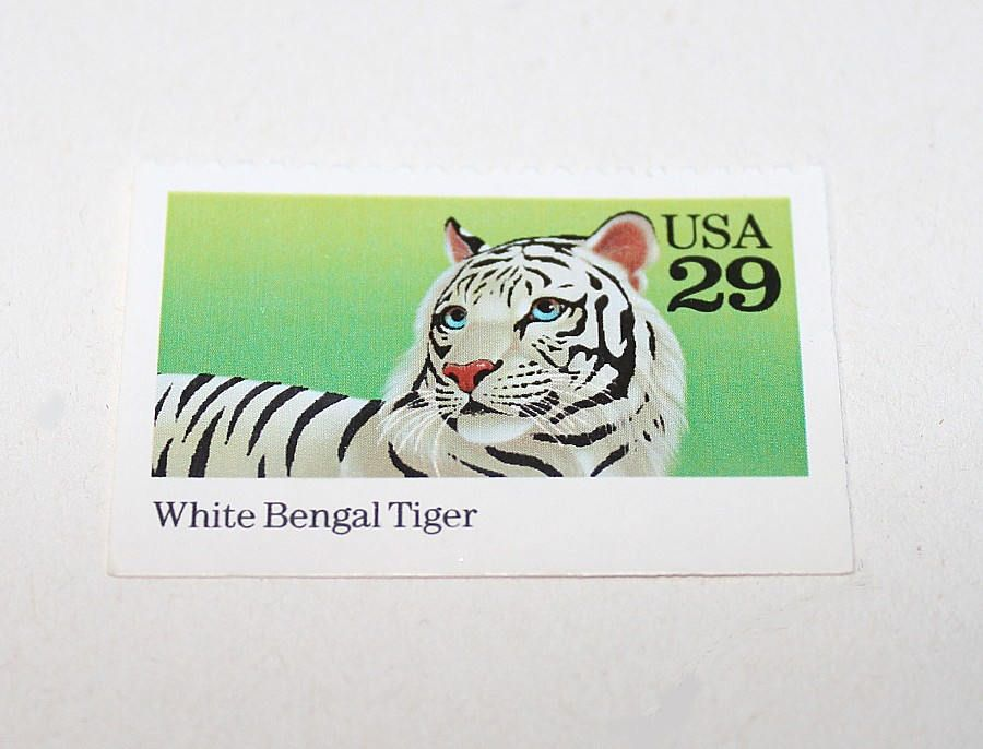 Five 29c White Bengal Tiger Postage Stamps .. Unused US