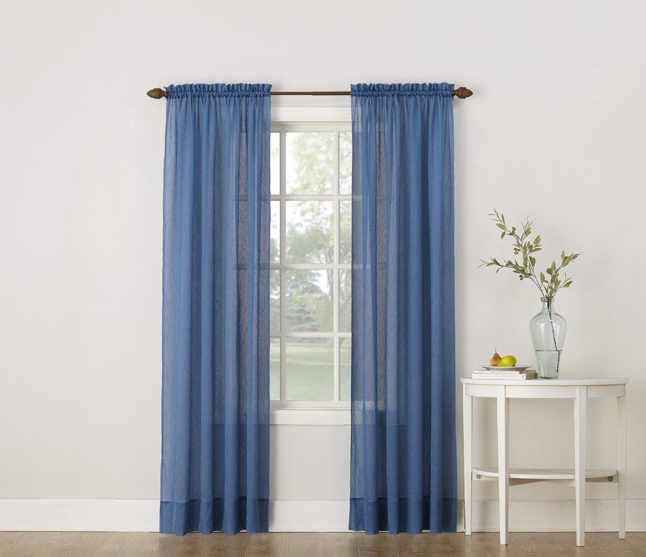Emily Solid Color Sheer Rod Pocket Window Single Curtain Panel Curtains Rod Pocket Curtain Panels Panel Curtains