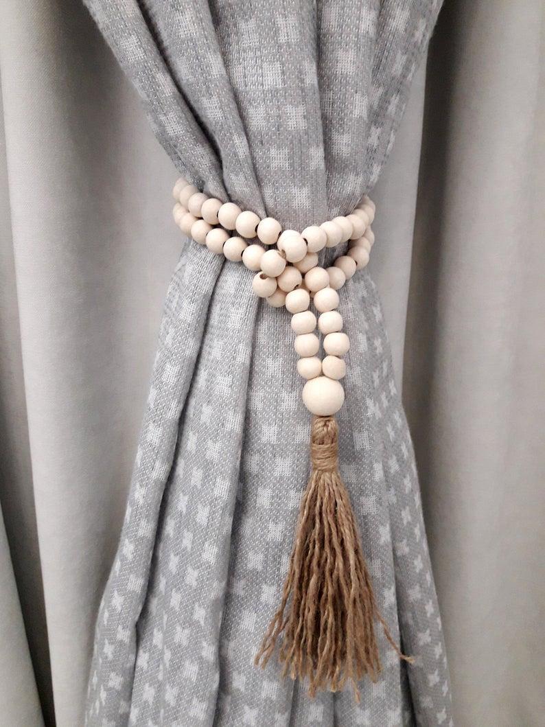 wood beads tie back jute rope tassel