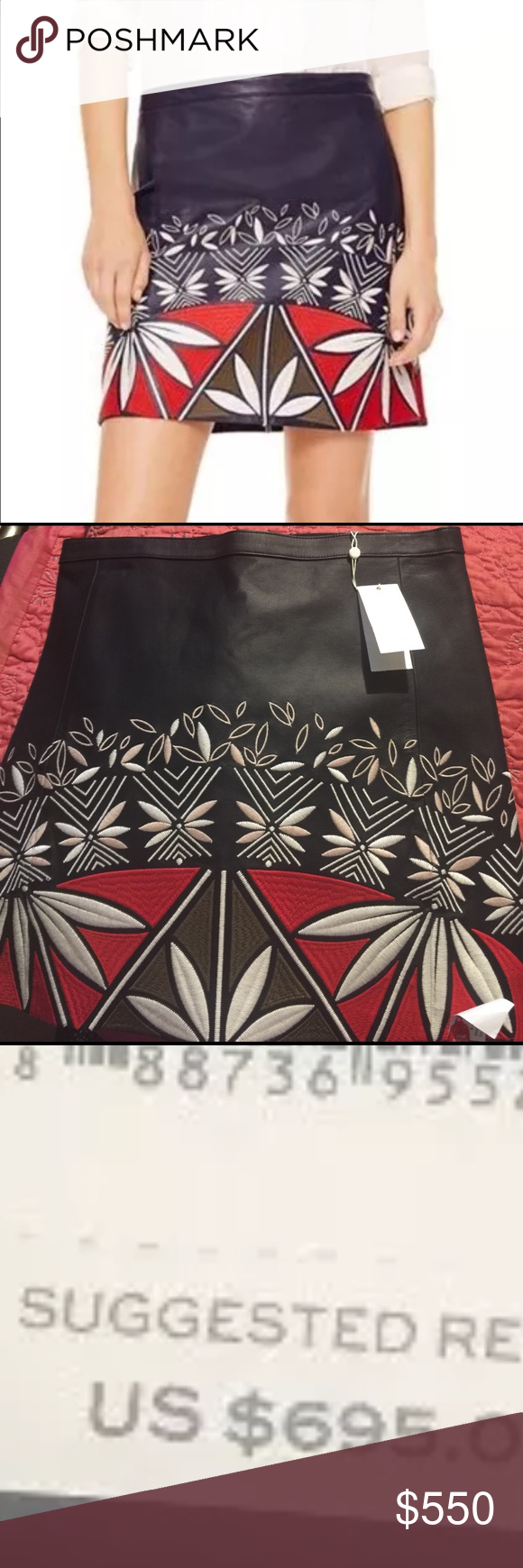 Tory burch skirt Tory burch skirt. Authentic.this gorgeous skirt is leather with embroidered pattern to perfection. A must have. Brand new with tags . Tory Burch Skirts Midi