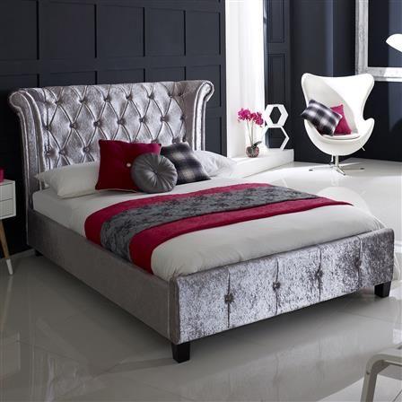 Epsilon King Velvet Bed Frame, Crushed Ice, Choose Set   Stylish ...
