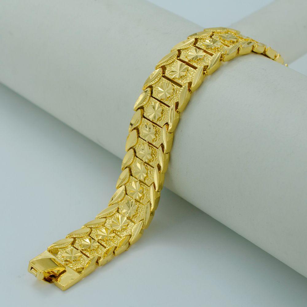20 5cm Gold Bracelet For Women Men Real Plated Br Dubai Bangles Africa Hand Chain Jewelry Ethiopian Arab 002007
