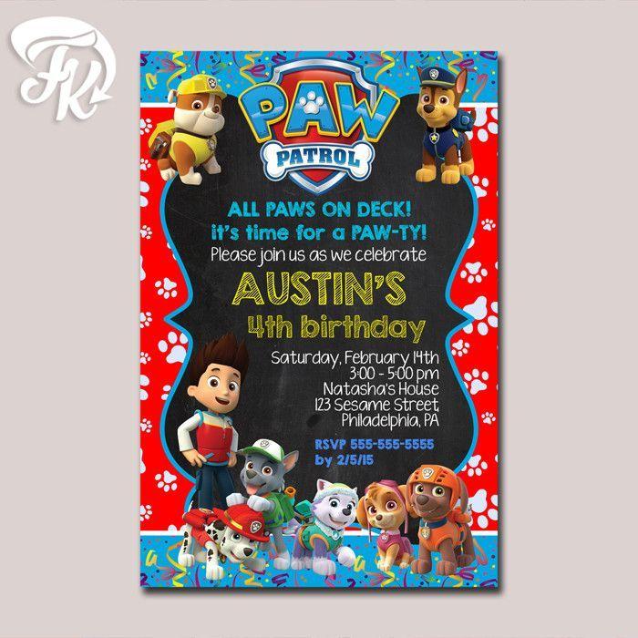 Paw Patrol Paws Celebrate Birthday Party Card Digital