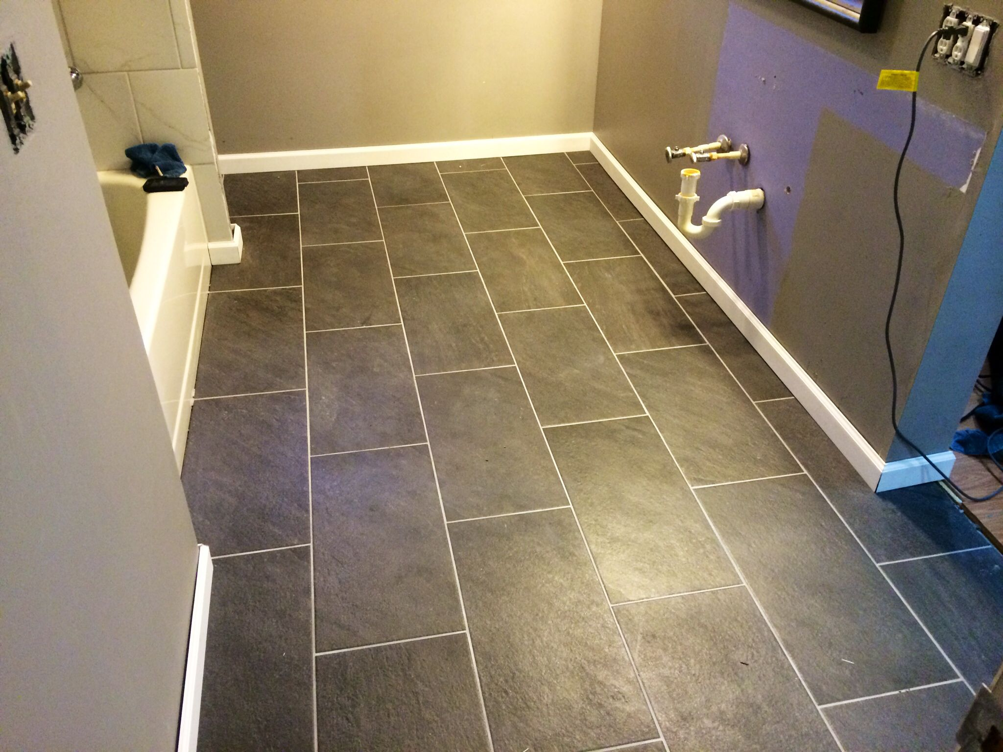 Our New Charcoal Gray 12x24 Bathroom Tile Floors. L-O-V-E