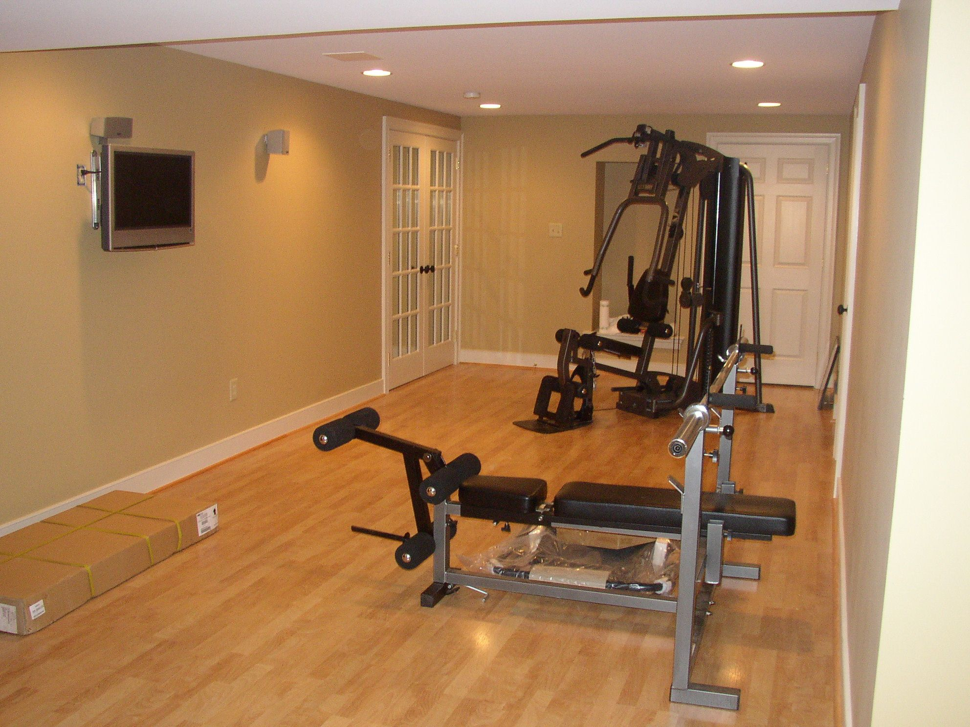 Exercise Rooms In Basements. Basement Level Is Finished With Rec Room Bedroom Storage Laundry Room And A