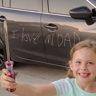 And this dad whose vehicle just got branded.