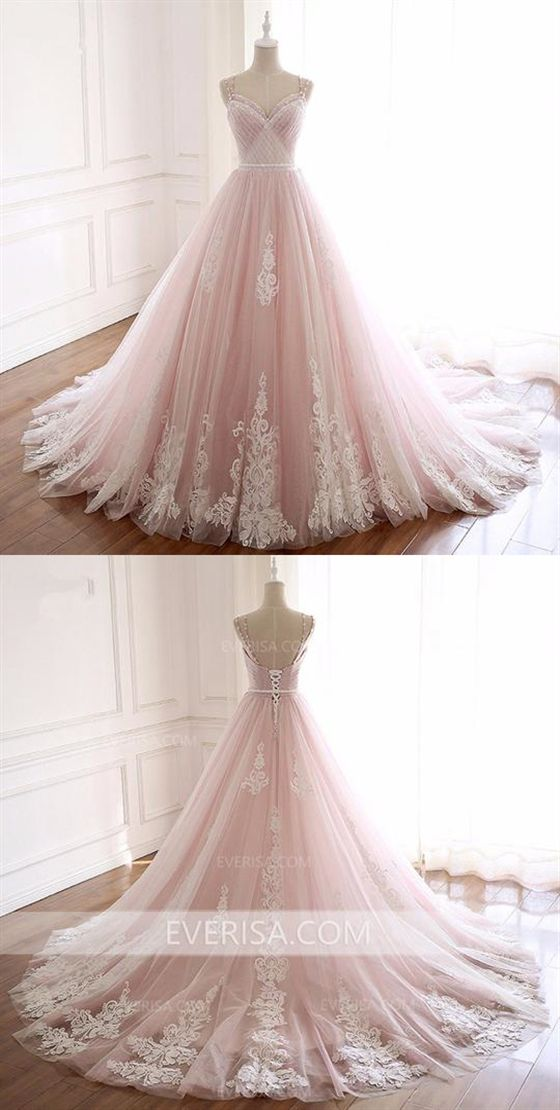 Photo of Pink Sweetheart Lace Appliques Wedding Dresses,Sleeveless Bridal Gown