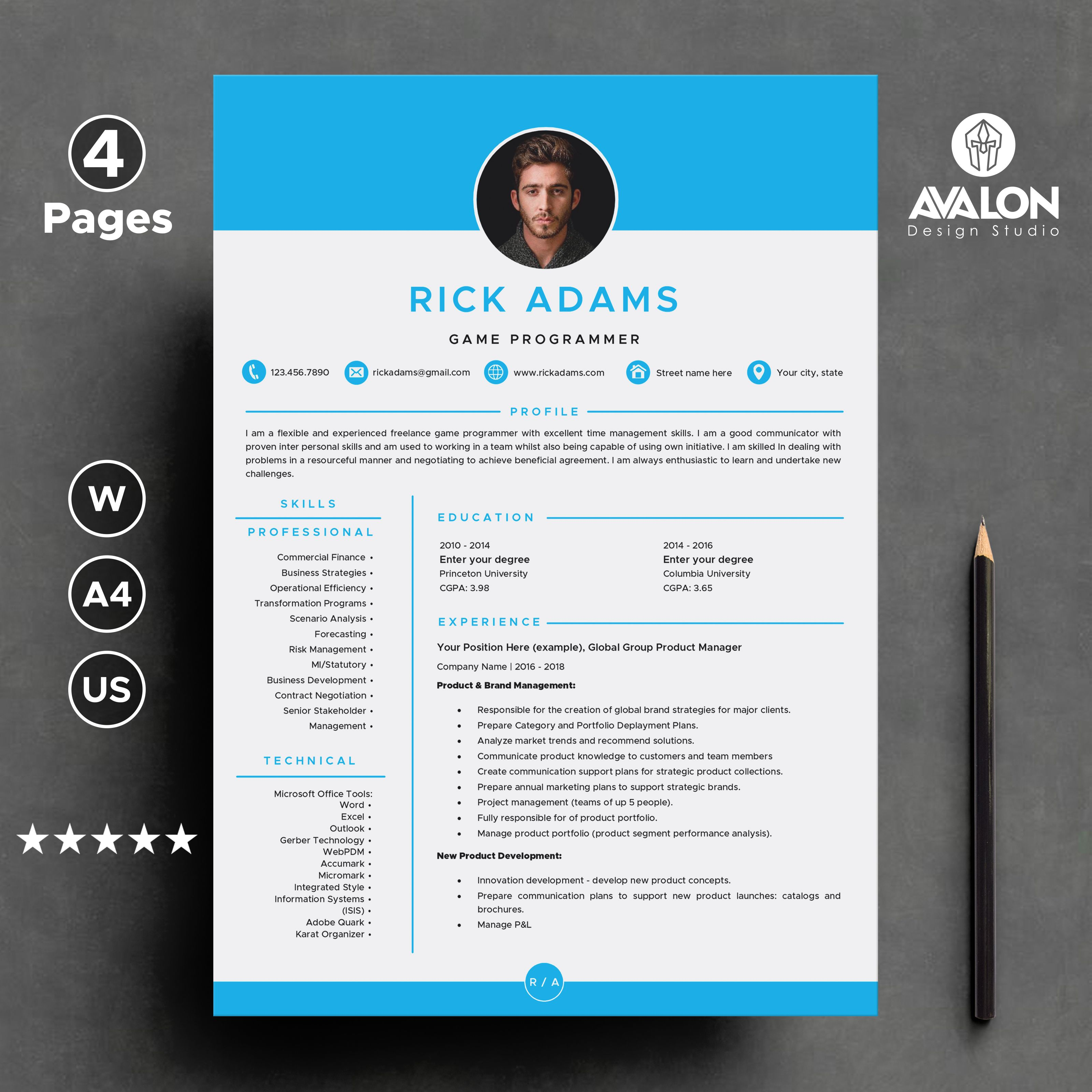 Professional Resume Template For Microsoft Word 4 Pages Creative Cv Template Instant Dow Resume Template Creative Cv Template Resume Template Professional