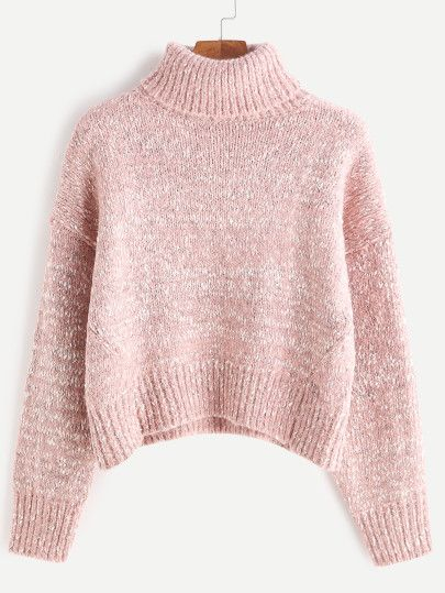 Turtleneck Drop Shoulder Crop Cable Knit Sweater  daf0b830e