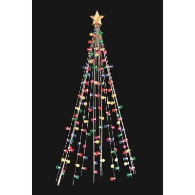 Home Accents Holiday 7 Ft Cone Tree With 105 Multi Color Lights Ty171 1218 The Home Depot Christmas Lamp Post Cone Trees Outdoor Christmas