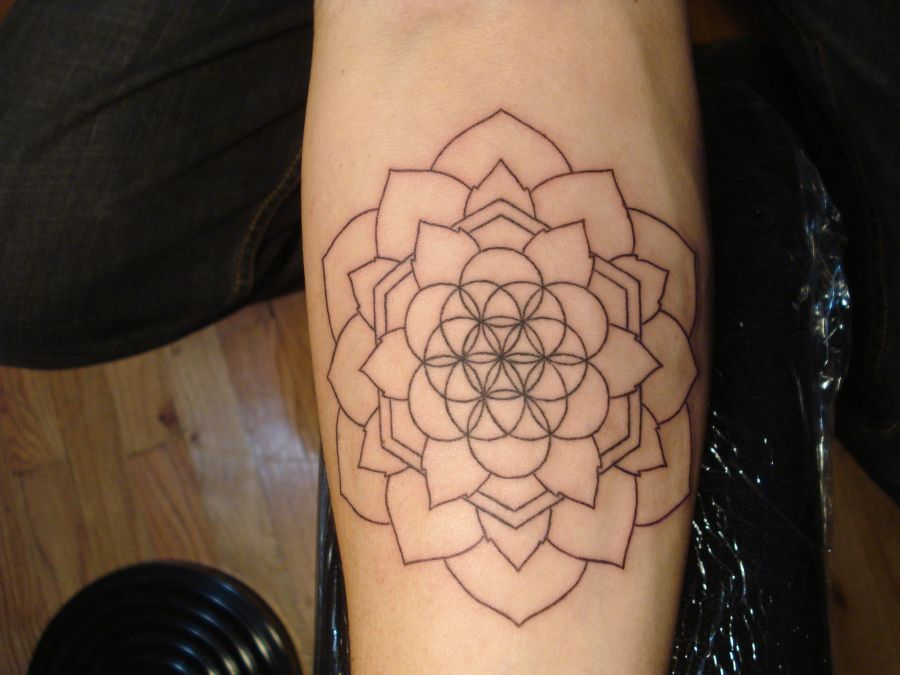 Lotus Flower Of Life Geometry Tattoo Flower Of Life Tattoo Sacred Geometry Tattoo