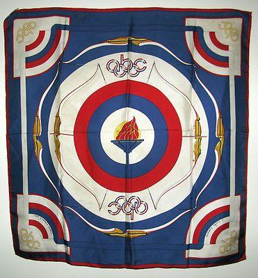 vif et grand en style marque populaire moderne et élégant à la mode 35 x 35 Silk HERMES Scarf - 1984 Summer Olympics - ABC - J ...