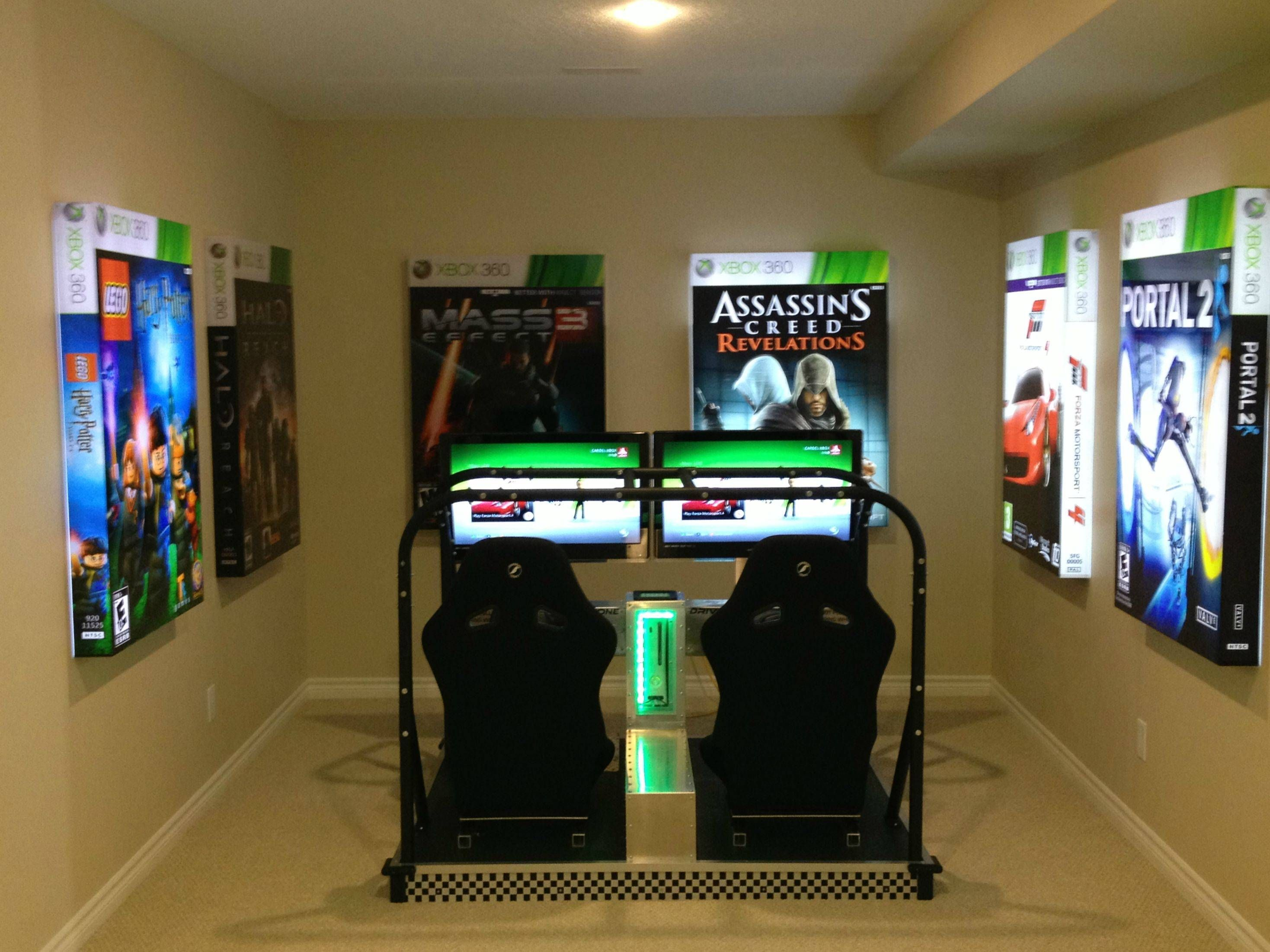 Visited a model home today this was in the basement for Cool gamer bedroom ideas