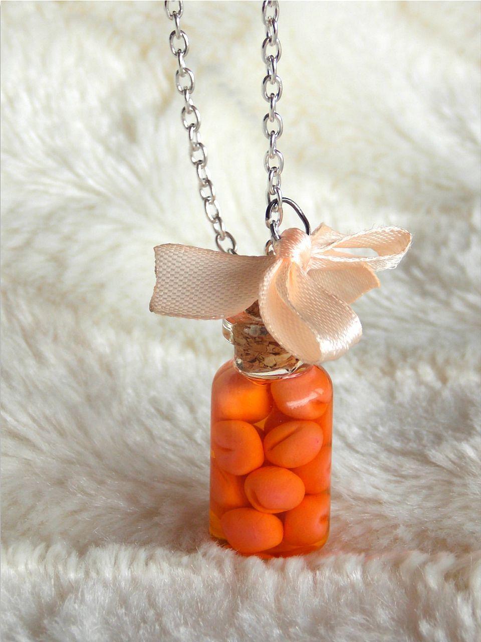 Miniature Apricot Food Necklace - Funny Necklace - Bottle Necklace ...