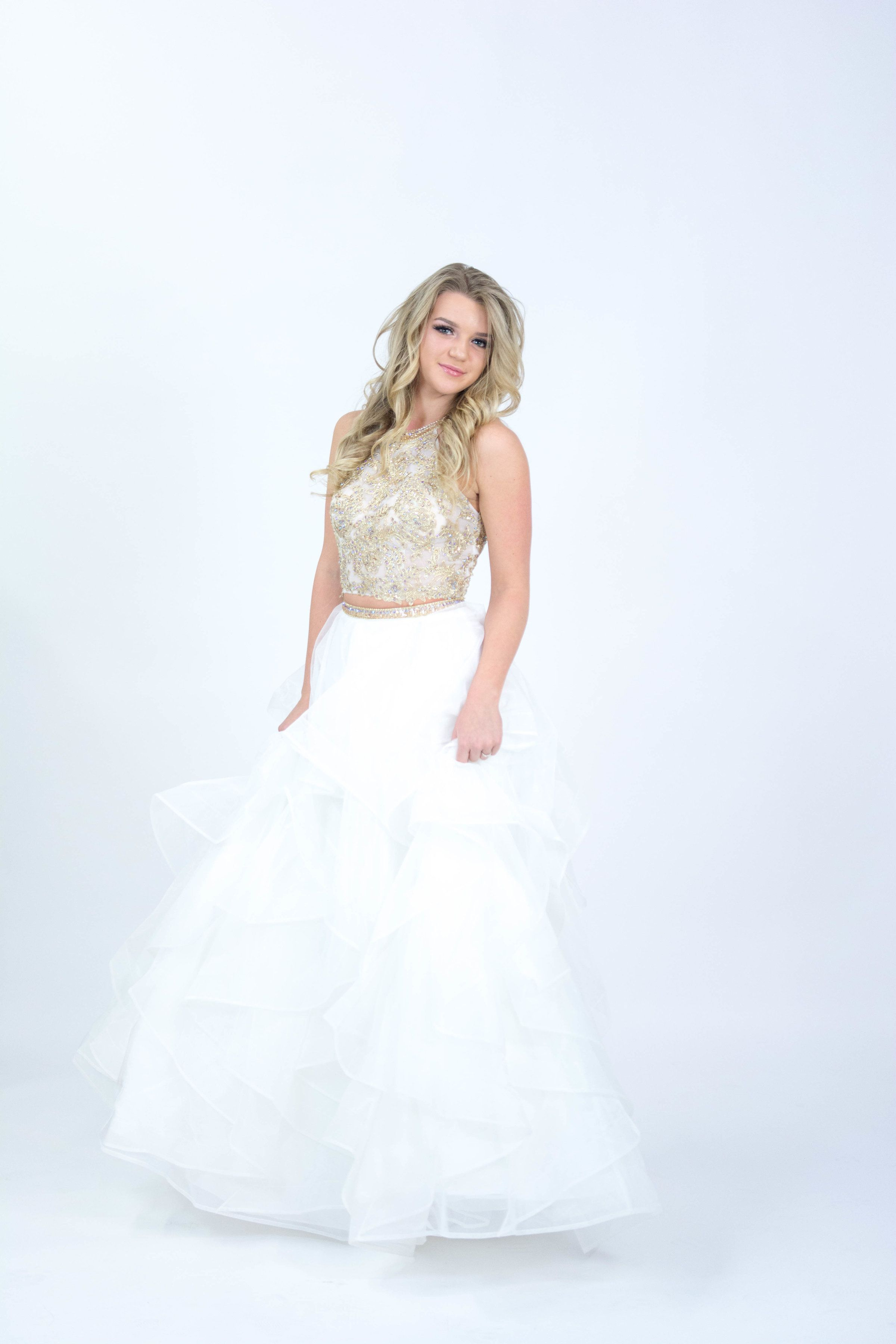 Sherri Hill White and Gold 2 Piece ruffle skirt Ypsilon Dresses ...