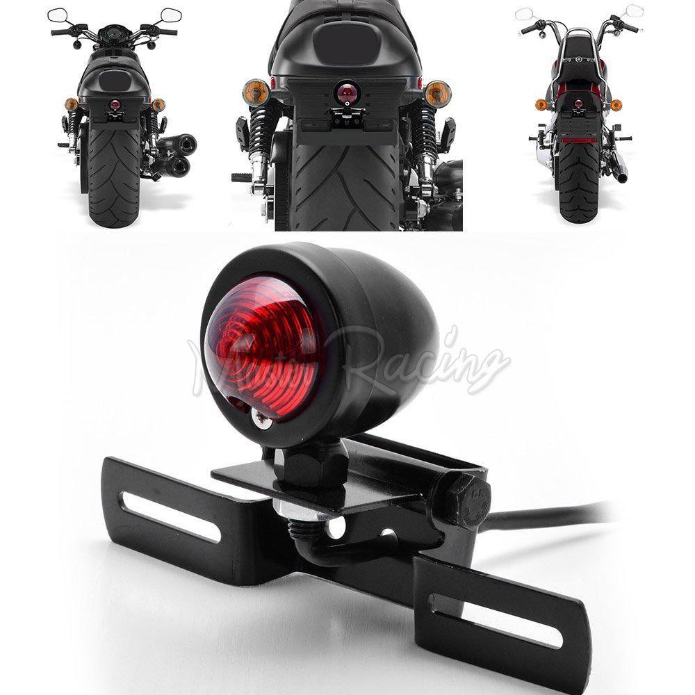 Motorcycle LED Cafe Racer Brake Side License Plate Holder Stop Retro Tail Light