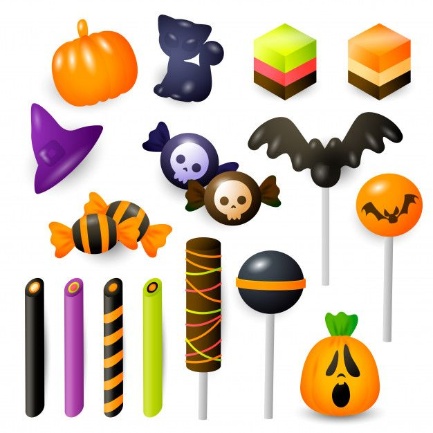 Set of halloween sweets and bonbons Free... | Free Vector #Freepik #freevector #food #party #halloween #cat