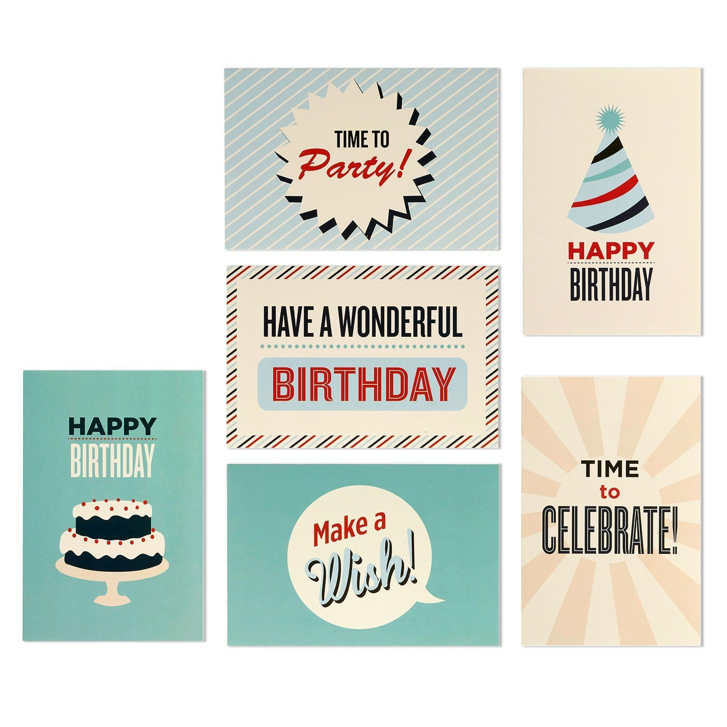Amazon 48 Pack Happy Birthday Greeting Cards 6 Vintage Retro Cake Party Hat Designs Bulk Box Set Variety Assortment Envelopes Included 4 X