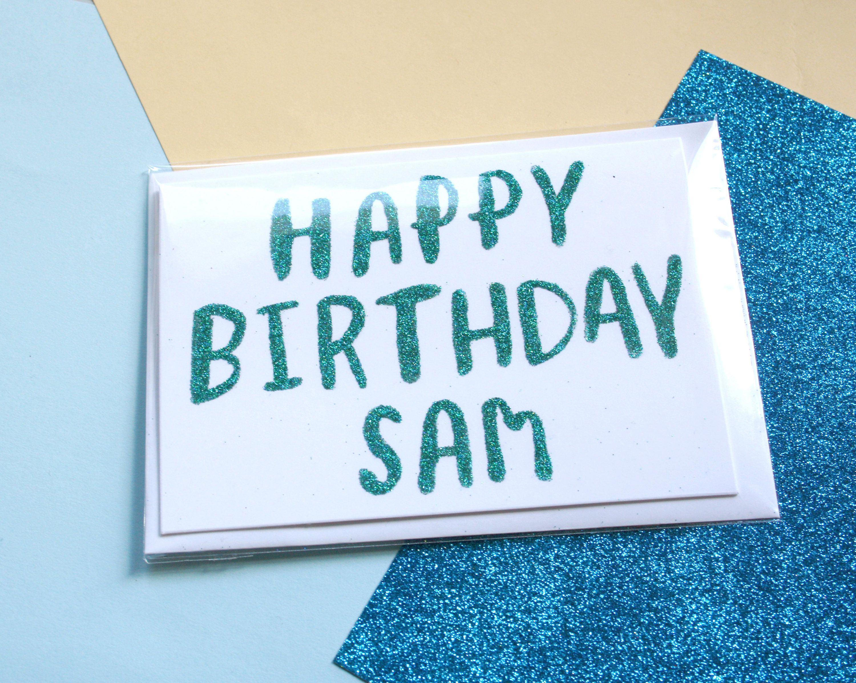 Custom Happy Birthday Glitter Card Personalised Birthday Card – Custom Happy Birthday Card