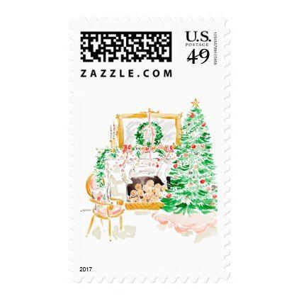Christmas Scene Holiday Postage, Christmas Tree Postage Christmas